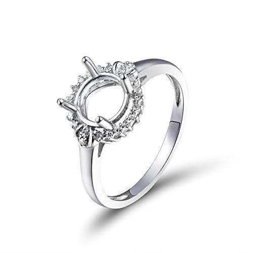 Lanmi Elegant Oval 7mm Diamond Semi Mount Engagement Ring Set in Fine 14K White Gold for Women