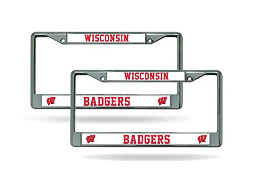 Wisconsin Badgers Chrome License Plate Frame - Set of 2 (License Plate Frame Badgers)