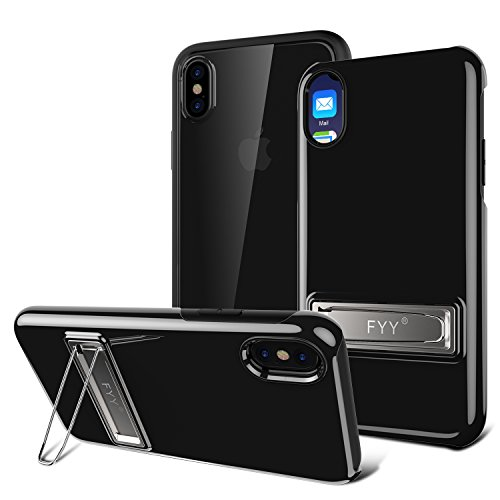 iPhone X Case, FYY Innovation [3H Scratch Resistant] Hybrid Crystal Clear Bumper Case With [Shock Absorption] Front Cover and [Metal Kickstand] for iPhone X Edition (2017) Black