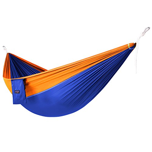 (Yes4All Lightweight Double Camping Hammock with Carry Bag – Nylon Parachute Hammock / Lightweight Portable Hammock for Camping, Hiking (Blue/Orange))