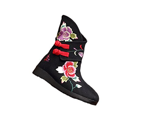 AvaCostume Womens Embroidery Frog Flats Anti-skid Boots Black