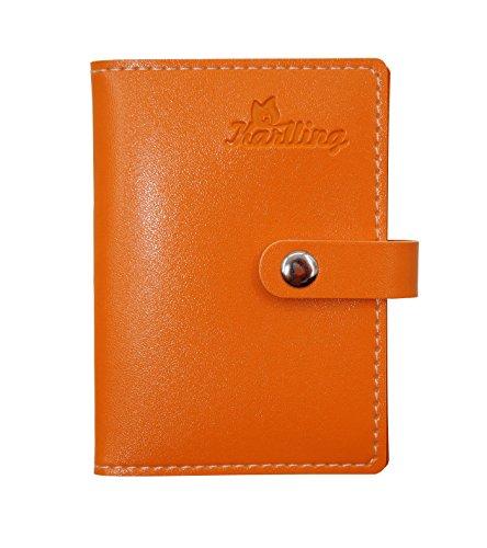 Leather Index Card Holder (Karlling Soft Leather Case Wallet Bag Holder For 20 Credit Cards (Orange))