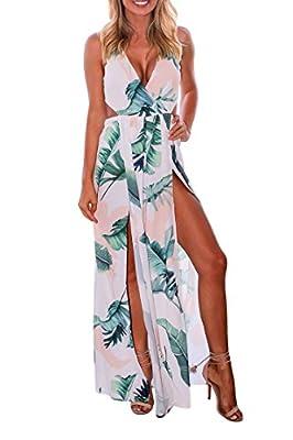 Meenew Women's Floral Print Bodysuit Party Long High Split V Neck Maxi Dress