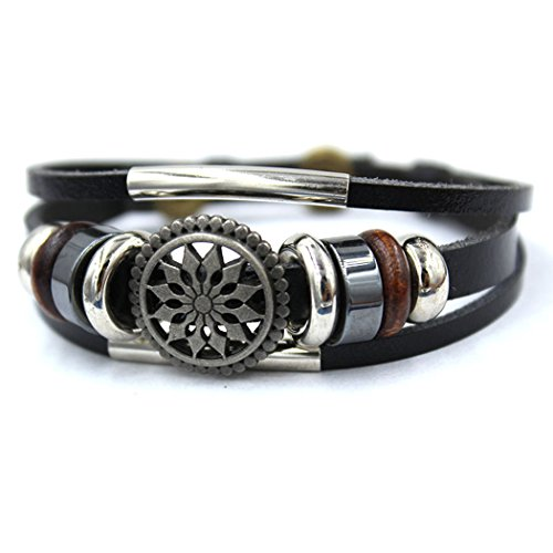 Real Spark Unisex Punk Style Multilayer Braided Tube Flower Charms Leather Wrap Bracelet (Sending Flowers Meaning)