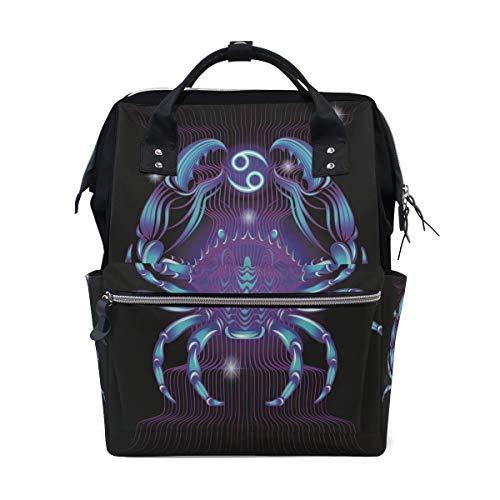 Crab Cancer Zodiac Travel Backpack Large Nappy Diaper Bag Laptop Backpacks For Women Men