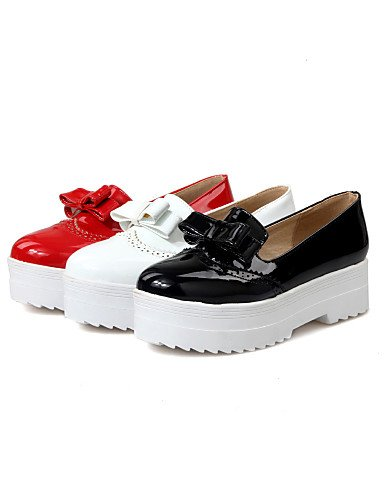 ZQ Zapatos de mujer - Plataforma - Plataforma - Tacones - Casual - Semicuero - Negro / Rojo / Blanco , red-us10.5 / eu42 / uk8.5 / cn43 , red-us10.5 / eu42 / uk8.5 / cn43 red-us6.5-7 / eu37 / uk4.5-5 / cn37