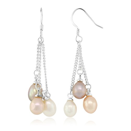 (Gem Stone King 3-Color Cultured Freshwater Pearl Dangle Earrings 1.5 Inch)
