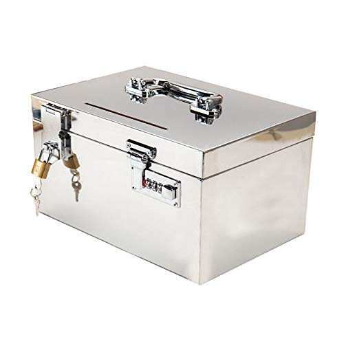 Lzttyee Stainless Steel Password Storage Box Deposit Box Piggy Bank with Lock and Handle (Small)