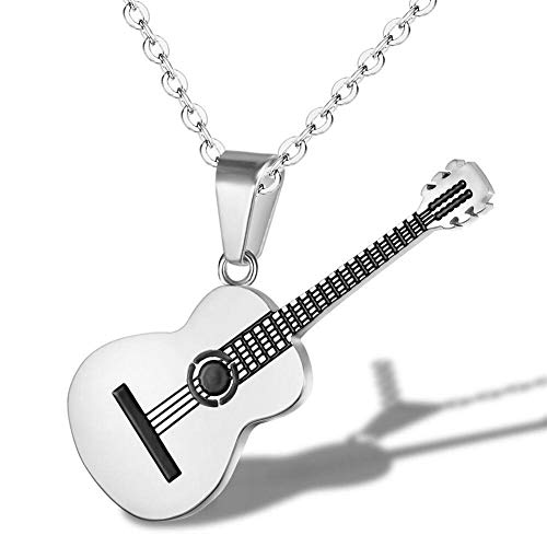 (AILUOR Men Women Guitar Pick Necklace with Adjustable Chain Hip Hop Music Style Titanium Steel Guitar Tag Pendant Jewelry Personalized Gift (Silver))
