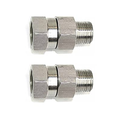 """Interstate Pneumatics PW7166-2PK 3/8"""" MPT x 3/8"""" FPT Stainless Steel Swivel fitting - 4000 PSI"""