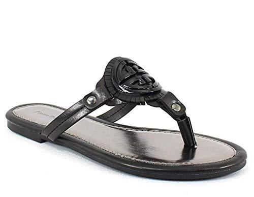 Pierre Dumas Limit-11 Women's Vegan Leather Ornamented T-Strap Thong Flats Sandals (7.5, Black-azaria9)