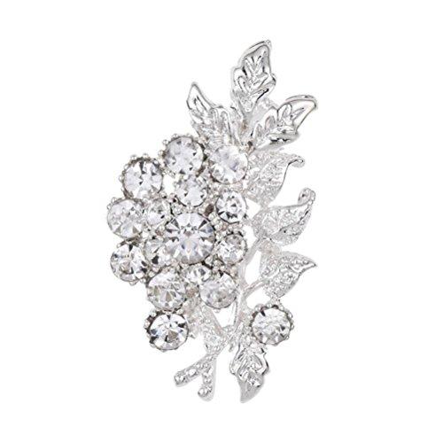 Botrong Pearl Pin Rhinestone Brooch Scarf Clip Clothing Crystal Pin Flower Brooch (Silver) -