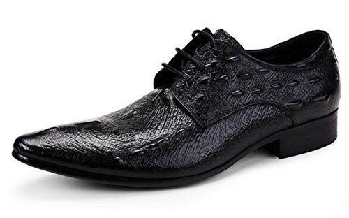 Happyshop (tm) Krokodillen Heren Derby Schoenen Lace-ups Winklepickers Puntschoen Leren Schoenen Zwart
