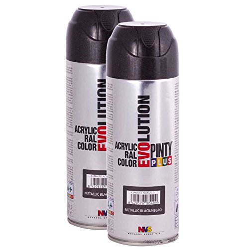 Glow Spray Enamel - Fast Dry - Acrylic Spray Paint PintyPlus Evolution - Pack of 2 - MT153 (Metallic Black)