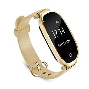Bracelet Intelligent Femme AGPTEK W03 Tracker d'Activité avec Cardiofréquencemètre Podomètre Calories Sommeil – Bluetooth 4.0 Bracelet Connecté Etanche IPX7 – Pour IOS 8.0 Android 4.3, Or