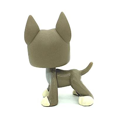 ZAD #184 Grey Great Dane Dog Blue Eyes LPSs Toys Puppy Figures: Toys & Games