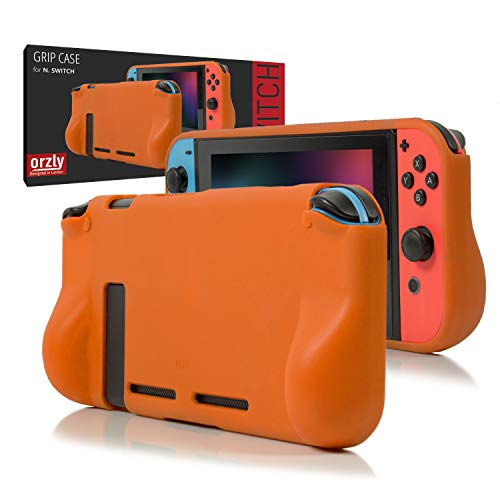 Orzly Grip Case for Nintendo Switch - Protective Back Cover for use on The Nintendo Switch Console in Handheld Gamepad Mode with Built in Comfort Padded Hand Grips - Orange