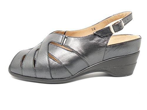 Sandalia ancho especial comoda mujer PieSanto - Plantilla extraible - Piel Negro - 4153 - 100 negro