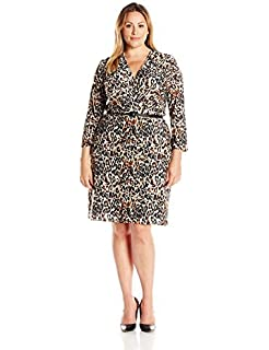 0465b12402cd Star Vixen Women's Three-Quarter-Sleeve Faux Wrap Dress at Amazon ...