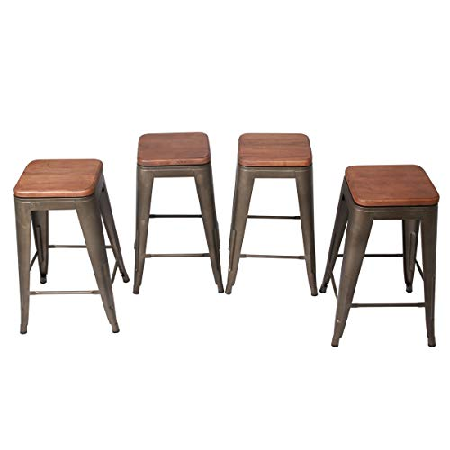 Changjie Furniture 24 Inch Swivel Metal Bar Stool for Indoor-Outdoor Kitchen Counter Barstools Set of 4 24 inch, Swivel Rusty Wooden