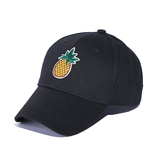 Price comparison product image HEART SPEAKER Cactus Pineapple Embroidery Dad Hat Unconstructed Fashion Unisex Baseball Cap (Black + Pineapple)