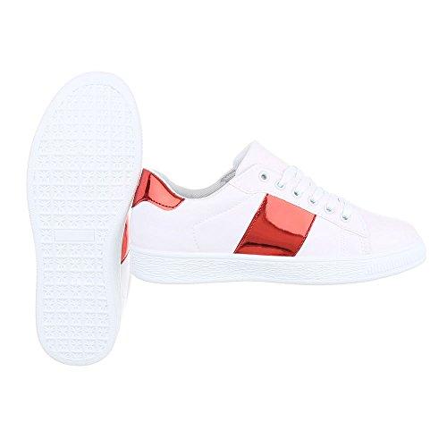 Damenschuhe Freizeitschuhe Design Weiß Low Sneakers FC Rot V407 Ital xq5vZwq