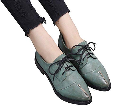 Oxford Shoes Women Low Heel, Casual School Uniform Dress Shoe Work Use Anti-skid Retro Deep Green