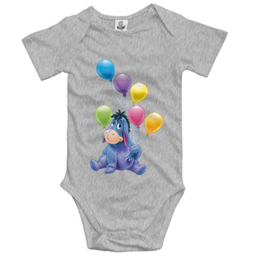 NEXT DAY ONE Donkey Piglet Winnie Pooh Eeyore Baby Bodysuit Short Sleeve Onesies for Boys and Girls Gray