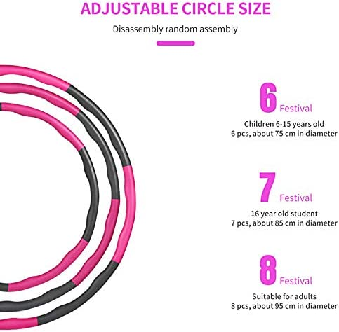 Gorssen Fitness Hoop, Exercise Hoop,Removable Eight-Section Foam Hula Ring, Weighted Foam Padded Fitness Hoop for Teenager and Adults Exercise, Dance Fitness 3