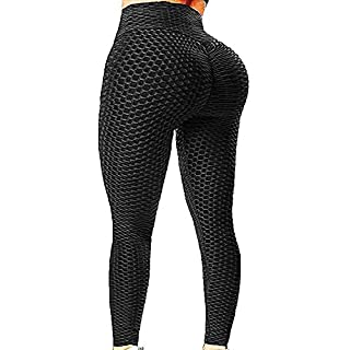 EHH Women High Waisted Ruched Butt Lifting Leggings Scrunch Textured Compression Yoga Pants Booty Workout Tights M