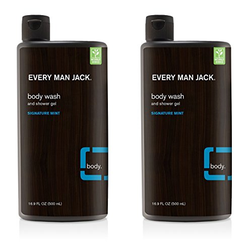 Every Man Jack Body Wash, Signature Mint, 16.9 Fluid Ounce 2 Pack ()