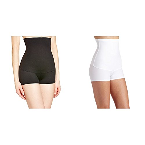 - Maidenform Flexees Women's 2 Pack Shapewear Minimizing Hi-Waist Boyshort, Black/White, X-Large
