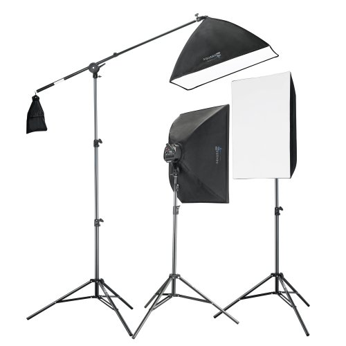 Square Perfect 2815 Professional Quality 2275W Digital Video Softbox Lighting Kit Boom Stand by SQUARE PERFECT