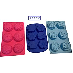3 Flower Shaped Silicone Molds – Floral Shapes for Soap Mold – Cake Baking Chocolate Candy Ice - Jello Flowers Shape Baked Gifts - Party Decoration You Choose by Jolly Jon (Variety B, 3 Total Molds)