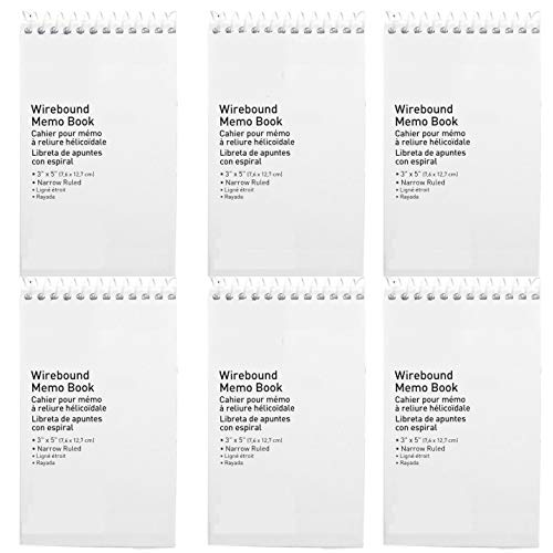 Memo Pad, Small Spiral Notebook, Narrow Ruled - Wire bound Memo Books - Hard Sturdy Cover - 50 Sheets, 5 x 3 Inch, Compact Size - 6-Pack
