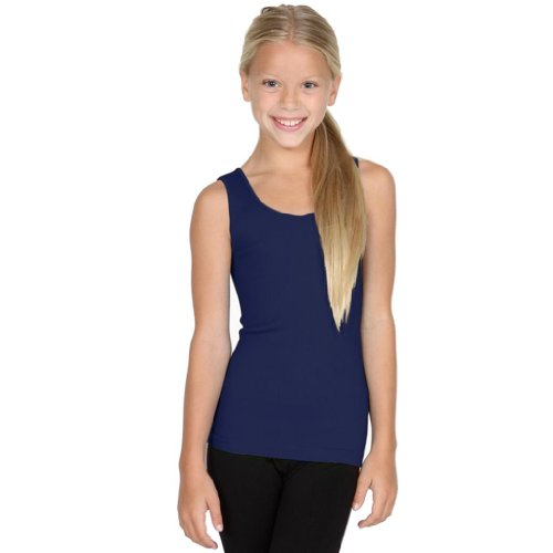 Sugarlips Girl's Ribbed Seamless Tank-Navy (Ribbed Lips Sugar)