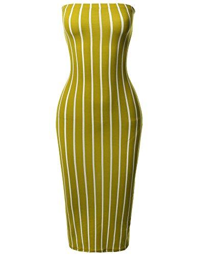 Tight Fit Pinstripe Print Body-Con Tube Midi Dress Mustard 3XL