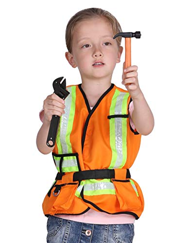 Familus Kids Construction Worker Costume for Halloween Role Play Pretend Play