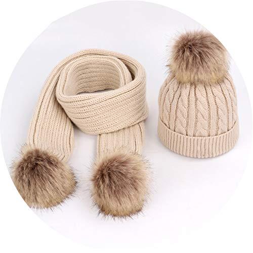 Cute Pompom Children Knit Hat Scarf 2 Pieces Set Soft Cap Scarves,Beige5 (Capilene 2 Cap)