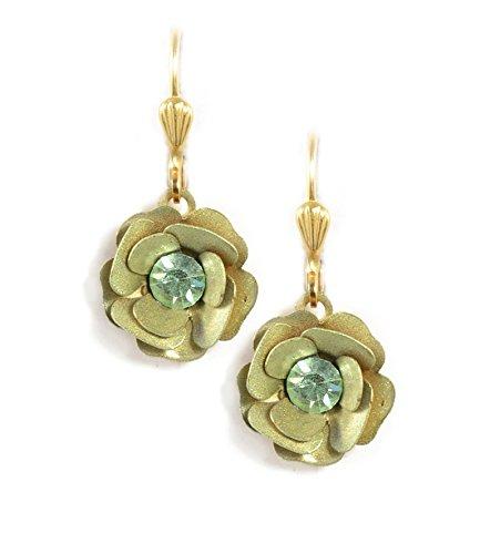 (Clara Beau Moss Color Enamel Flower Swarovski Glass Crystal GoldTone Earrings E731 Moss - Gold)
