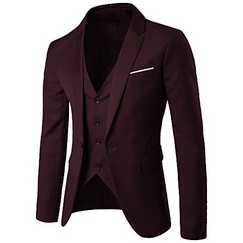 MAGE MALE Men's 3 Pieces Suit Elegant Solid One Button Slim Fit Single Breasted Party Blazer Vest Pants Set (2XL, Dark Red) - Fashion 3 Piece Suit