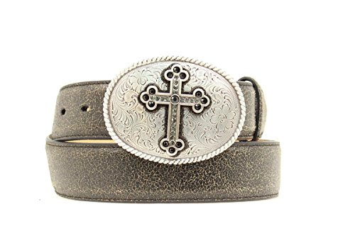 Nocona Women's Distressed Cracked Leather Belt With Fancy Cross Oval Buckle Black (Nocona Leather Jeans)