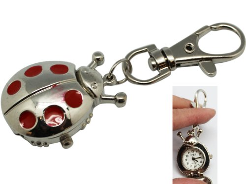 Silver and Red Ladybug Keychain Watch with Clip