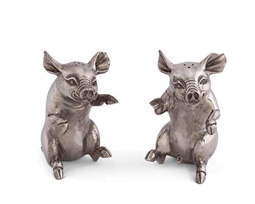 (Vagabond House Happy Pewter Pigs Salt and Pepper Shaker Set, 4