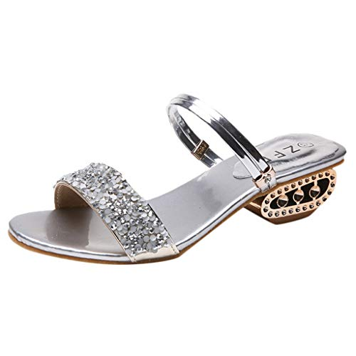 - Caopixx Summer Sandals for Women Beach Party Get Together School Carnival Casual Evening Slipper Sandals Silver