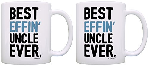 Uncle Gifts from Niece Uncle Best Effin Uncle Ever Birthday Gifts for Uncle 2 Pack Gift Coffee Mugs Tea Cups White