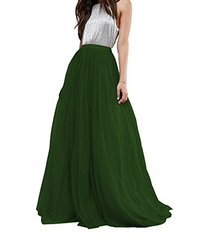 CoutureBridal Women's Bridal Prom Tulle Long Skirt Party Floor Length Dark Green