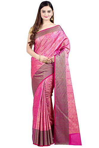(Chandrakala Women's Magenta Art Silk Indian Ethnic Banarasi Saree,Free Size(1313MAG))
