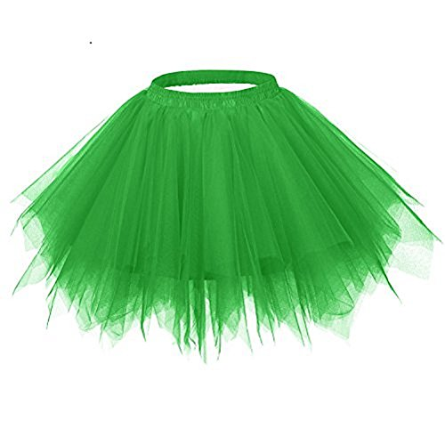 Kileyi Womens Tutu Costume Adult Party Dance Tulle Skirt Short Fluffy Petticoat Green S -