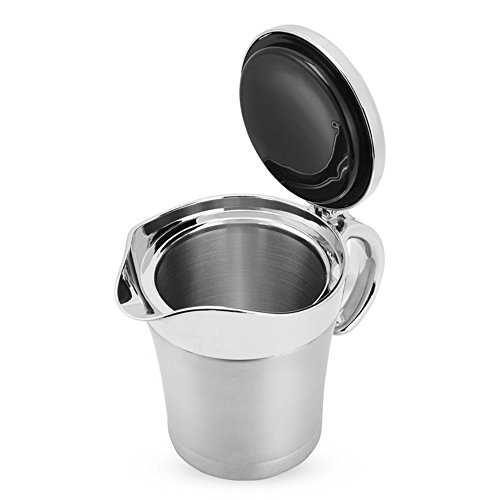 (ANGELA 16oz Stainless Steel Gravy Boat, Steak Sauce Pot with Lid, Double Wall Insulated Design, Storage for Soup Juice or Cream, for Home Kitchen Use)